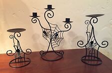 Halloween Spider Web with Jeweled Spiders Pillar & Taper Candle Holder Set Black