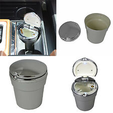 New LED Automotive Cup Ashtray Coin Holder Cigarette Bucket Car Truck Silver Acu