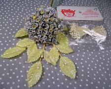 Vtg Tiny Linen Forget Me Not Millinery Flowers Leaves Doll Muffie Ocuppied Japan