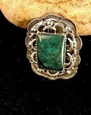 Native American Sterling Silver Spider Web Turquoise Men's Ring Size 11 Signed