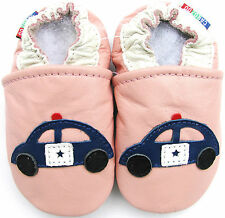 carozoo soft sole leather baby shoes police car pink 6-12m