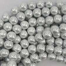 "10mm white pearl magnetic hematite round beads 16"" strand"