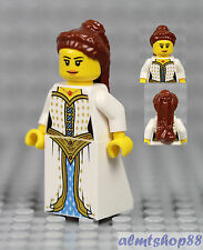 LEGO - Female Minifigure White Gold Dress & Brown Long Top Braided Hair Princess