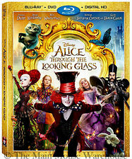 Disney Alice in Wonderland 2 Through the Looking Glass Blu-ray DVD Digital Copy