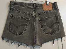 VTG Levi's 501 Black Distressed High Waist Denim Cut Off Jean Shorts Size Med