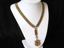 VICTORIAN GOLD FILLED GF WIDE MESH BOOK CHAIN NECKLACE HAIR RECEIVER LOCKET