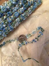 Vintage Silk Blue Floral Rosettes Trim Flowers Dolls Hats Braid Per 1 Yard
