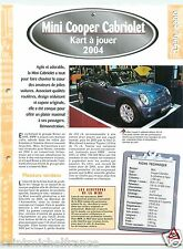 Mini Cooper Cabriolet 4 Cyl. 2004 England BMW Car Auto Voiture FICHE FRANCE