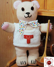 """Vintage Knitting Pattern CUTE TEDDY BEAR WITH VEST SOFT TOY approx. 17"""" Tall PDF"""
