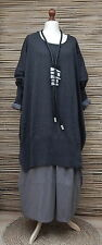 "LAGENLOOK 100% COTTON OVERSIZE LONG JUMPER*CHARCOAL*BUST UP TO 60""OSFA XL-XXXL"