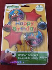 Sesame Street Gang Happy Birthday Balloon Bouquet Party Decoration Elmo ~ 5pc