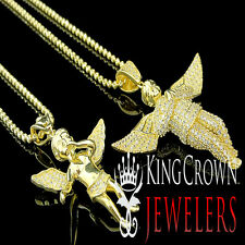 Yellow Gold Over Silver Simulated Diamond Double Angel Pendant & Chain Combo