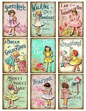 Oh so sweet ~ Vintage girls in pastel shades Tags/Card Toppers/Scrapbooking