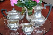 Antique Vintage Sheffield English Silverplate EPNS Fluted 4 pc Tea Coffee Set