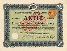 Baumwollspinnerei Gronau histor. Textil Aktie 1922 Münsterland Garn van Delden