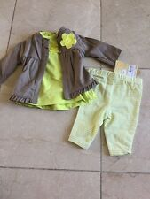 NEW Carters newborn 3 pc outfit inc green tank, striped pants and brown cardigan