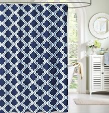 Navy and Light Blue White Moroccan Fabric Shower Curtain: Crestlake Elegance