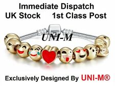 UNI-M® GOLD PLATED 18ct EMOJI 10 Bead CHARM BRACELET HIGH QUALITY GIFT **SALE**