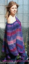 Kid Mohair soft  sweater PONCHO leicht semi-transparent one size lila purple