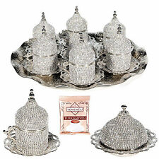 27 Pc Turkish Greek Arabic Coffee Espresso Saucer Swarovski Crystal Set SILVER