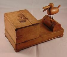Vintage Treen Wooden Bird Figure Animated Cigarette Box & Dispenser