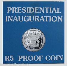 SOUTH AFRICA 5 Rand 1994 PF MANDELA Presidential Inauguration in Perspex Case