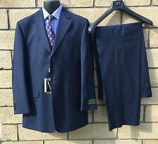 Morvati Blue Suit, Super 150's With Diagonal Design, 42 Long Made in Italy