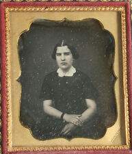 DAGUERREOTYPE WOMAN,TINTED. 1/6TH PLATE FULL CASE.MAKER MARK DENNIS.CRISP IMAGE.