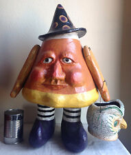 Halloween Large Creepy Candy Corn Man Owl Bucket '90s(?) Paper Mache 22""