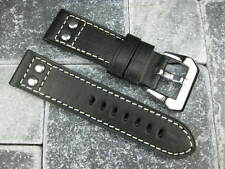 24mm Aviation PILOT Style Button Leather Strap Rivet Band Black BREITLING 24 mm