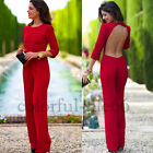 2015 new summer perforate Nightclub backless red bandage bodycon pants Jumpsuits