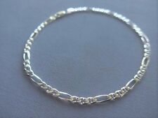 "NEW 10"" ITALIAN STERLING SILVER ANKLE BRACELET- FIGARO/MARINA -4mm -ITALY 925"