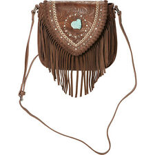 Montana West Tooled Crossbody Bag with Fringe - Coffee Cross-Body Bag NEW