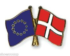 EU European Union & Denmark Flags Friendship Courtesy Enamel Lapel Pin Badge