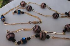 Vintage Murano glass bead necklace copper -black w/jet & crystals, Strand