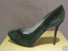 Sergio Rossi Italy Dark Green Suede Platform Pumps Shoes Heels 40 10
