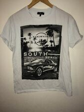New Look Men T Shirt Top Size M Miami Print To Front White  R7188