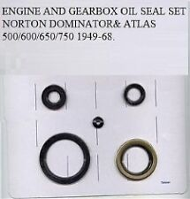 NORTON DOMINATOR& ATLAS 500/600/650/750 ENGINE AND GEARBOX OIL SEAL SET 1949-68