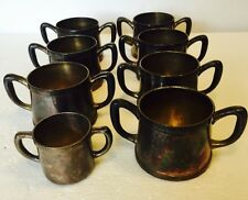 Antique Set Of 8 Benedict Indestructo Double Handle Pewter Baby Cups Silver Tone