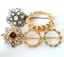 5x c.1980s Brillante Diamante Perla Pequeña/Miniatura Broche Lote Vintage mezclado