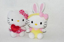 """Ty Hello Kitty 2012 Red Heart 2011 Easter Bunny Ears Plush Doll Lot of 2 6"""" Mini"""
