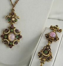 FLORENZA Necklace & Bracelet Set Antique Gold Easter Foil Cabachons Rhinestones