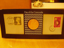 RARE 1976 DAY OF THE CONCORDE SILVER PROOF MEDAL COIN LONDON BAHRAIN COVER