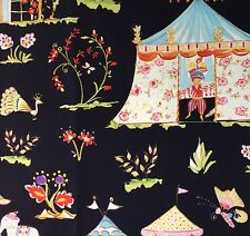 RPG22D Toile Asia Tropical India Tent Elephants Palm Trees Cotton Quilt Fabric