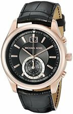 Michael Kors Men's Aiden MK8460 Black Dial Rose-Gold Tone Black Leather Watch