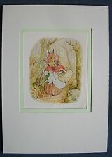 Vintage Beatrix Potter book print - Mrs Rabbit goes shopping - Peter Rabbit