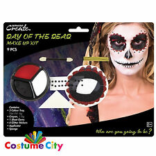 Halloween Womens Day of the Dead Make Up Face Paint Kit Fancy Dress Costume