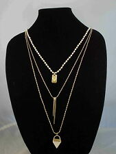 Vince Camuto SERENGETI BREEZE Goldtone White Beaded Matchstick Layer Necklace