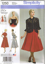 Vintage 50s Retro Peplum Dress Jacket Simplicity Sewing Pattern 14 16 18 20 22