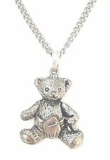 Baby Teddy Pendant Handcrafted in Solid Pewter In The UK + Free Gift Box PN14
